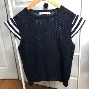 ZARA Navy Blue Knit Top
